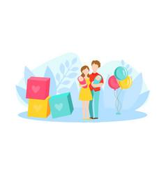 parents with babies twins young father and mother vector image