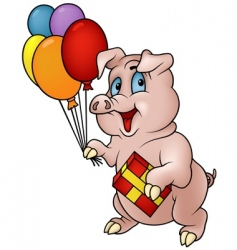 Pig with gift vector