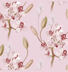 pink ochid floral pastel realisitic pattern vector image