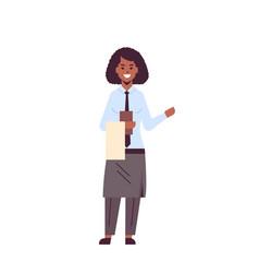 Professional waitress holding menu african vector