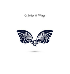 Q letter sign and angel wings monogram wing logo vector