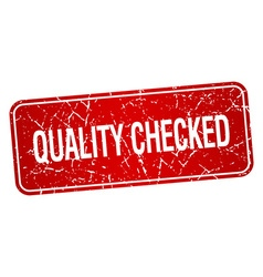 Quality checked red square grunge textured vector