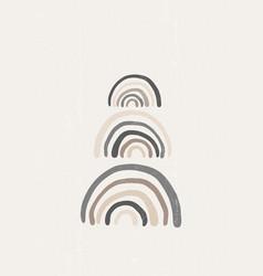 Rainbow vintage print boho minimalist printable vector