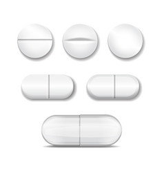 realistic pills in any shapes and forms vector image