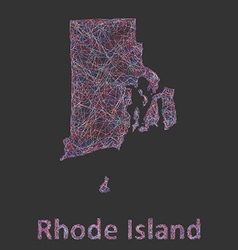 Rhode Island line art map vector image