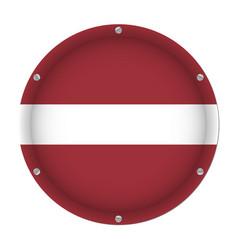 round metallic flag of latvia with screws vector image