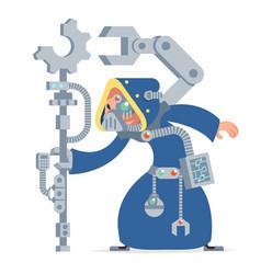 Sci-fi technology cybernetic scientist technician vector