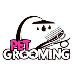 Scissors and comb for grooming pets vector