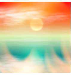 Sea summer sunset tropical summer background vector