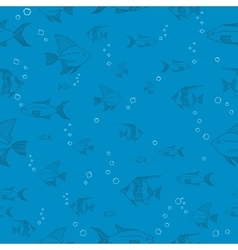 Seamless blue fish pattern vector