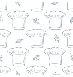 Seamless pattern with hand drawn chef hat Kitchen vector image