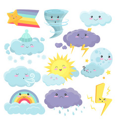 set cute weather icons with different emotions vector image