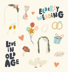 set icons love in old age theme elderly vector image
