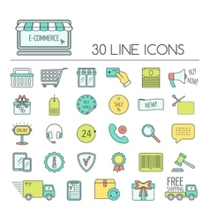 Set of e-commerce line icons Color modern line vector image