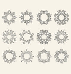 set of ornate mandala symbols vector image