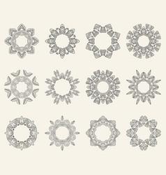 set of ornate mandala symbols vector image