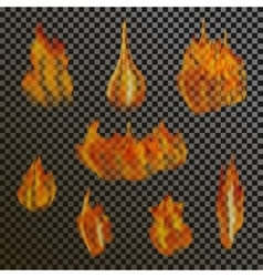 Set of realistic transparent fire flames on a vector image
