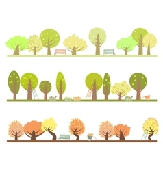 Set three seasons in garden vector
