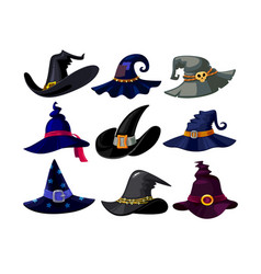 set witch hats icons wizard headwear vector image