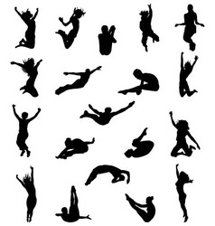 Silhouette jumping vector