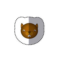 small sticker colorful picture face cute squirrel vector image