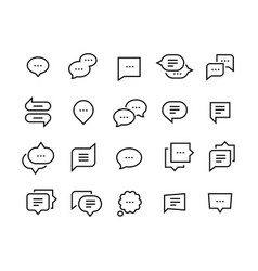 Speech bubble line icons talk chat thin vector