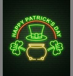 st patricks day neon sign and green brick wall vector image