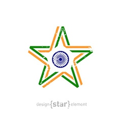 star with India flag colors symbols and grunge vector image