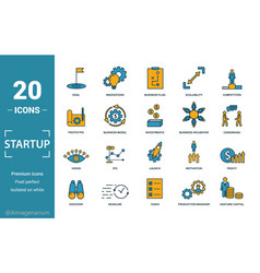 Startup icon set include creative elements goal vector