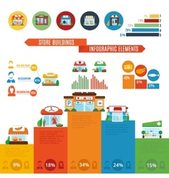 Store Building Infographics vector