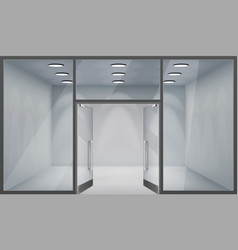 Store front open doors 3d shop empty interior vector