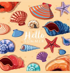Summer theme background with seashells vector