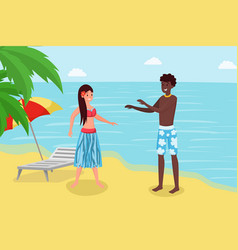 Summertime holiday at luxury tropical resort cute vector