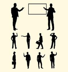 teacher businessperson presentation silhouette vector image