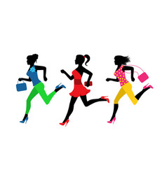 three fashionable women run for shopping vector image