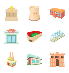 town building icons set cartoon style vector image