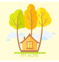 trees and house flat vector image