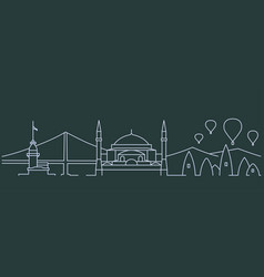 Turkey simple line skyline and landmark vector