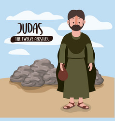 Twelve apostles poster with judas in scene in vector