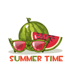 watermelon and glasses hello summer time vector image