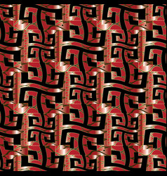 Wave greek key seamless pattern modern red black vector