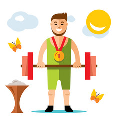 Weightlifting flat style colorful cartoon vector