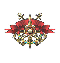 Wind rose and anchor colorful nautical tattoo vector