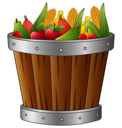 Wooden basket with harvest fruits and vegetables vector