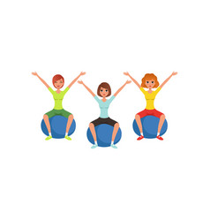 young girls doing exercise while sitting on vector image
