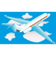 Airplane in a sky with clouds vector image vector image