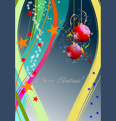 christmas - new year shine card with golden balls vector image vector image