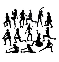 fitness and gym sport activity silhouettes vector image vector image