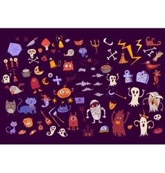 Halloween set of scary elements for holidays vector image