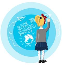 little girl blond hair stand near blue background vector image